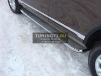 Volkswagen Touareg 2014 Пороги с площадкой (нерж. лист) 60,3 мм